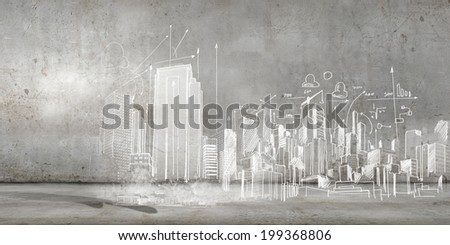 Background conceptual image of construction sketch plan - stock photo