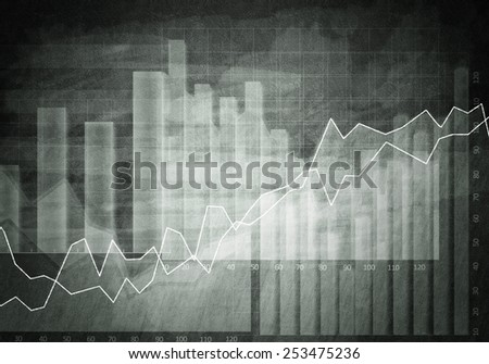 Background conceptual image with market graphs and diagrams - stock photo