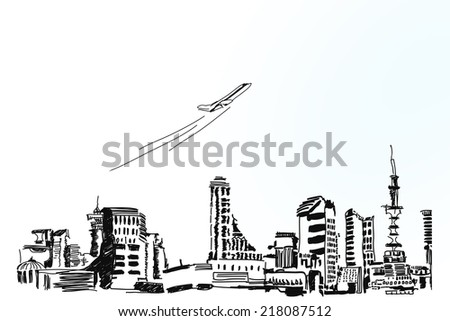 Background conceptual image with sketches on white backdrop - stock photo