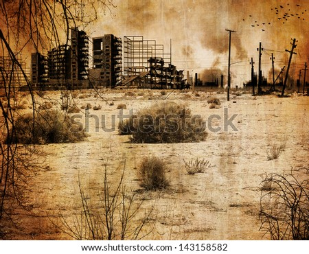 Background desert town after the nuclear apocalypse - stock photo