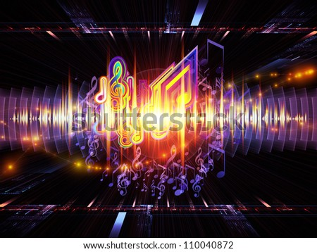 Background design of musical notes, perspective fractal grids, lights, wave and sine patterns on the subject of music, sound equipment and processing, audio performance and entertainment - stock photo