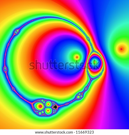 Background design with fractals in rainbow colors - stock photo