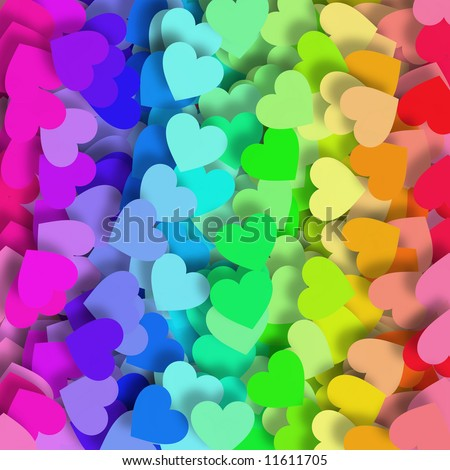 Background design with lots of little hearts in green, yellow, orange, red, purple, pink and blue - stock photo