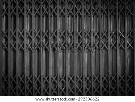 Background detail of steel Door, black and white - stock photo