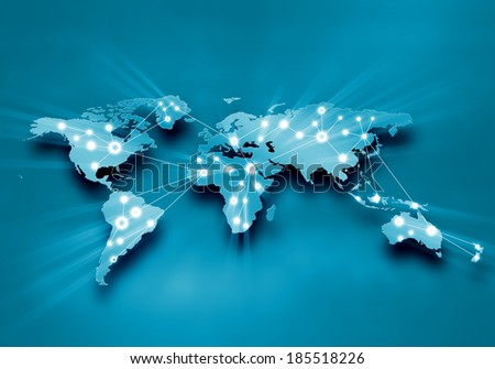 Background digital image of world map with connection lines - stock photo