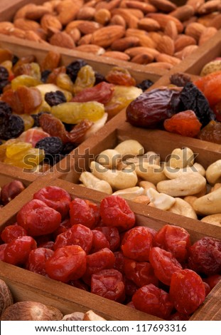 Background Dried Cherries, Cashew and Various Nuts in Wooden Box closeup