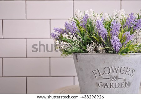 Background fake lavender flower beautiful.  Lavender flower purple and white for decorate your home. And,  for background work to you. - stock photo
