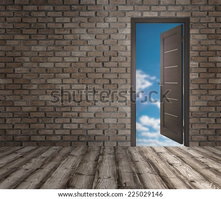 background for advertising the home's interior with open doors - stock photo