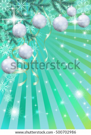 Background for Christmas Holiday Design, Green Fir Coniferous Branches, Silver Balls, Serpentine Ribbons, Stars, Flashes and Contour Snowflakes
