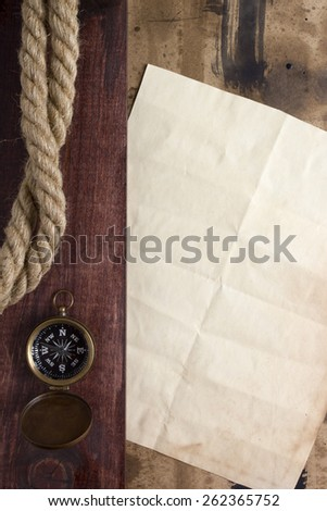 Background for creative compass and rope. Travel. - stock photo