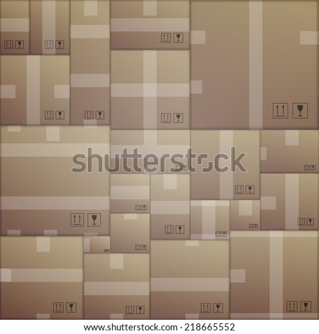 Background for delivery. Cardboard packs. Seamless pattern with randomly arranged cardboard boxes. - stock photo