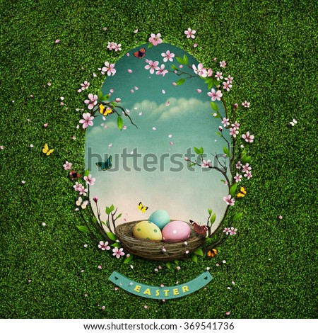 Background for Greeting card or illustration of Easter with  tree  and nest in hole in shape of an egg.