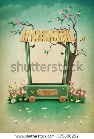 Background for greeting card with village shop  for Mother's Day or Easter - stock photo