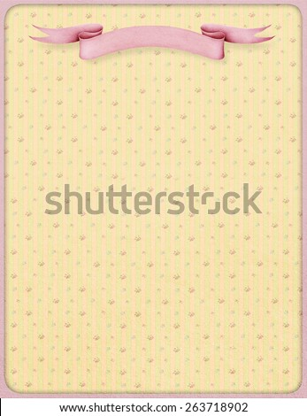 Background for illustration or postcard with pink paper banner - stock photo
