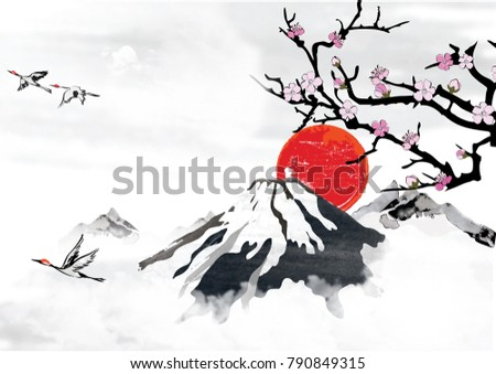 Background japanese korean greeting cards mountain stock background japanese korean greeting cards mountain stock illustration 790849315 shutterstock m4hsunfo Images