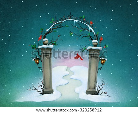 Background for  poster or greeting card with Christmas gate - stock photo