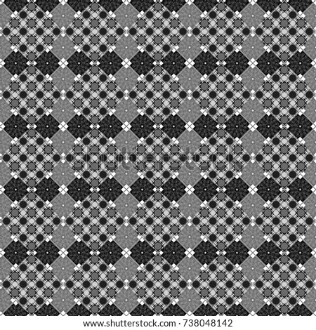 Background for printing brochure, poster, textile design, fabric, card. Seamless creative pattern with hand draw geometric composition in modern abstract style in black, white and gray colors.