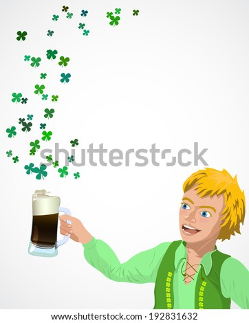 background for St. Patrick`s Day with leprechaun Raster version - stock photo
