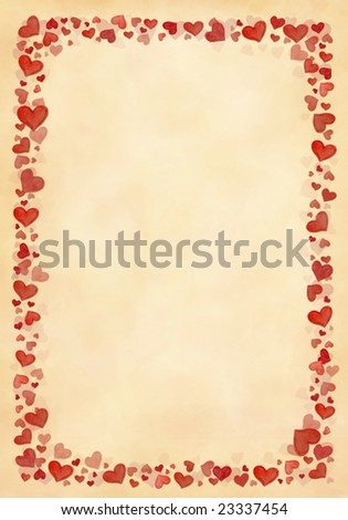 Background frame from hand painted hearts on yellow structure - stock photo