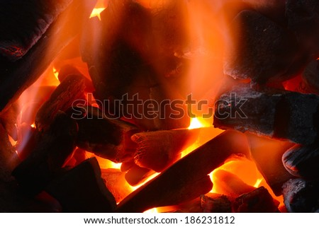 Background from a fire, conflagrant firewoods and decaying red coals