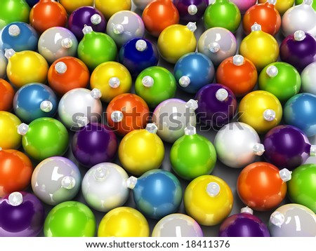 background from Christmas toys of different colours in the form of spheres