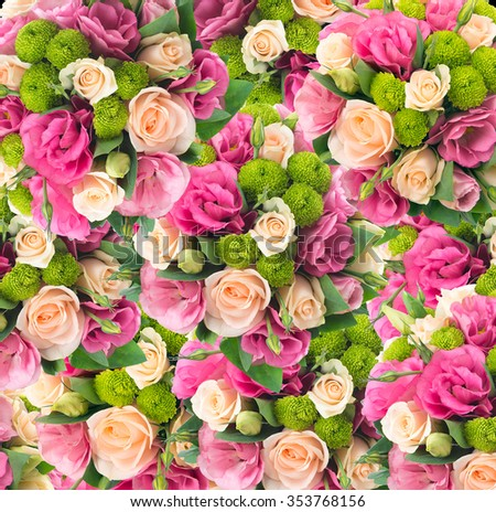 Background from different flowers. - stock photo