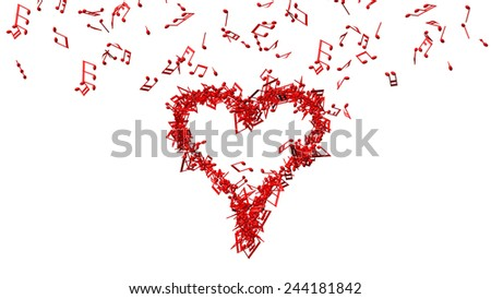 background from lots of red music notes making one big heart - stock photo