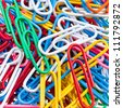 background from many color paper clips - stock photo