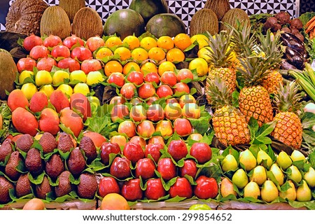 Background from many different fruits at a farmers market - stock photo