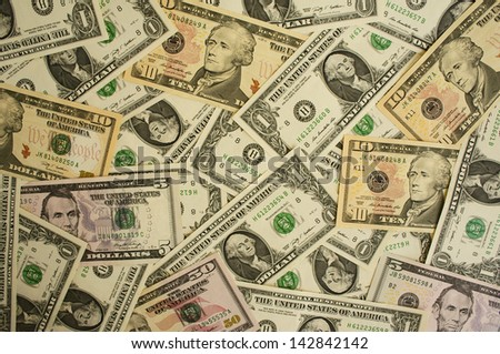 Background from money largely  1, 5, 10, 50  dollars - stock photo