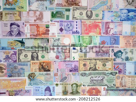 Background from paper money of the different countries. - stock photo