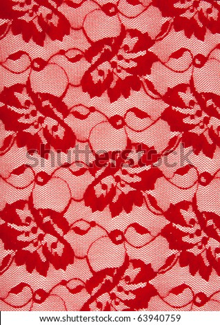 Background from red lace with pattern from flower - stock photo
