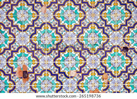 Background from some damaged traditionell portuguese tiles - stock photo