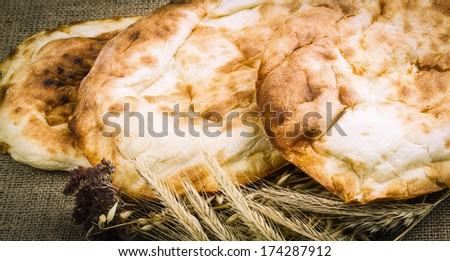 background from the fresh pita bread - stock photo