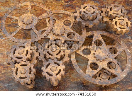 Background from the mechanism of gears rusted from time