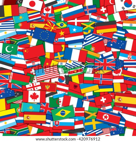 Background from Various World Flags . Design Template - stock photo