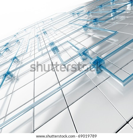 background from white metal big and blue small cubes connected with tubes - stock photo