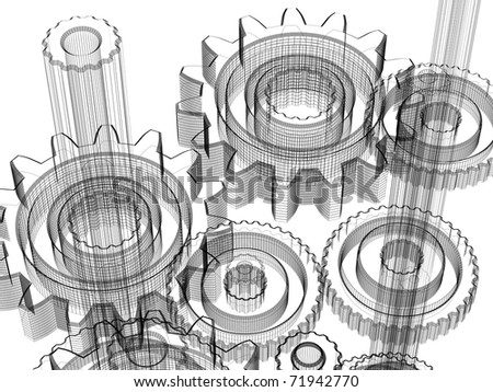 Background gears industrial design. Conceptual 3d wire-frame illustration. - stock photo