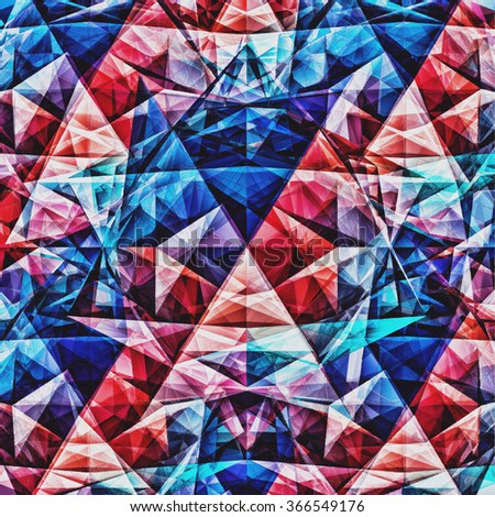 Background Geometric Colorful Painting On Canvas 170. Mosaic hipster background made of triangles. Retro label design. Square composition with geometric shapes. Hipster theme label.  - stock photo