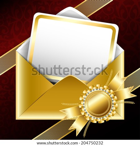 Background. Golden gift envelope with text card, bands and a ribbon.  - stock photo