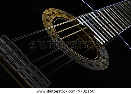 background guitar - glow - stock photo