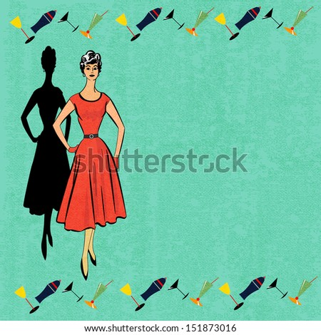 Background illustration for a cocktail bar menu with a 1950's feel - stock photo