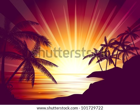 background illustration of tropical island with palms at sunset