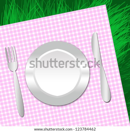 background  image of a plastic dish for a picnic on a napkin and grass - stock photo