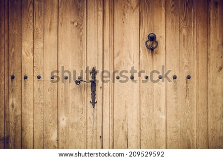background image of an old wooden door - stock photo