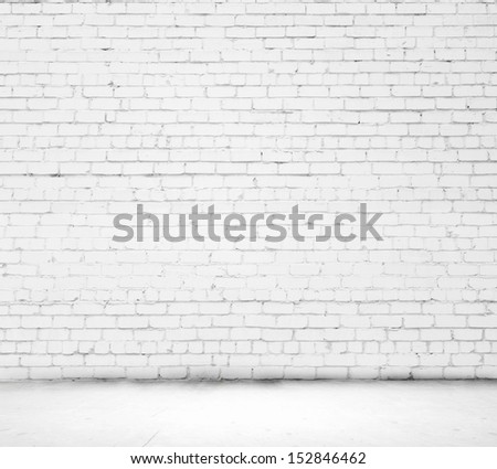 Background image of blank white brick wall - stock photo