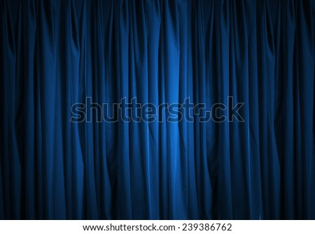 Background image of blue velvet stage curtain - stock photo
