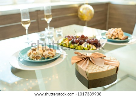 Background Image Of Dinner Table For Two Served For Romantic Date On  Valentines Day , Focus
