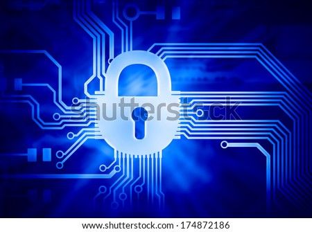 Background image of micro circuit with binary code - stock photo