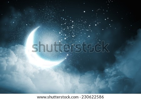 Background image of night sky with bright moon - stock photo